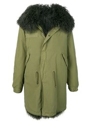 Mr And Mrs Italy Shearling Lined Parka Green