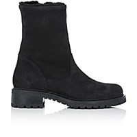 Barneys New York Women's Shearling Lined Side Zip Ankle Boots Black Blue Black Blue