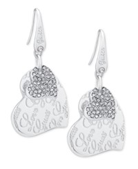 Guess Silver Tone Pave Heart Drop Earrings