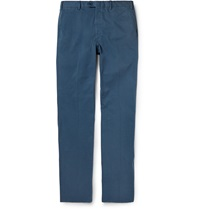 Brioni Brushed Cotton Trousers Blue