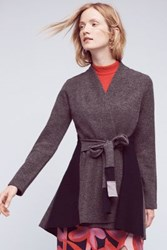 Anthropologie Denisse Wool Sweater Coat Grey Motif