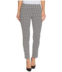 Krazy Larry Pull On Ankle Pants Black White Geometric Print Women's Dress Pants Gray