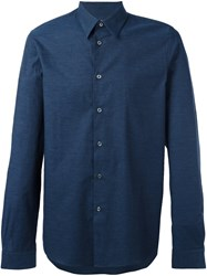 Paul Smith Ps By Jacquard Roll Sleeve Shirt Blue