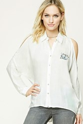 Forever 21 Bird Patch Open Shoulder Shirt Ivory