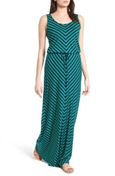 Caslonr Women's Caslon Drawstring Waist Maxi Dress Navy Green Rena Stripe