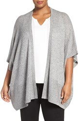 Sejour Plus Size Women's Wool And Cashmere Shawl Grey Heather