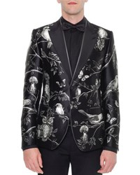 Dolce And Gabbana Forest Print Silk Evening Jacket Black White