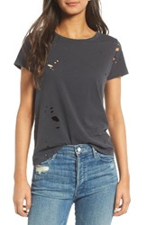 Mother Women's Itty Bitty Goodie Goodie Destroyed Cotton Tee Faded Black