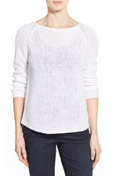 Women's Eileen Fisher Organic Linen Knit Ballet Neck Top White