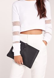 Missguided Simple Line Strap Clutch Bag Black Black