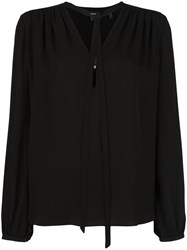 Theory Tie Neck Shift Blouse Black