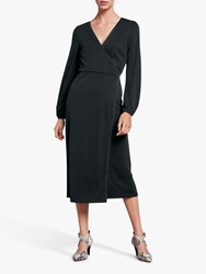 Hush Jersey Wrap Velvet Trim Dress Washed Black