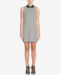 Cece Brynn Faux Leather Collar Houndstooth Shift Dress Black White