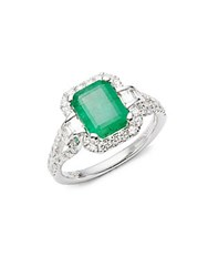Effy Diamond Emerald And 14K White Gold Pave Ring