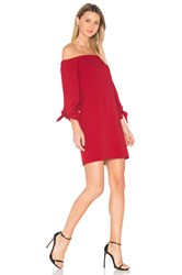 Tibi Off Shoulder Tie Sleeve Dress Red