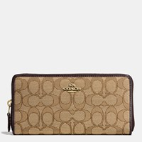 Coach Accordion Zip Wallet In Signature Canvas Light Gold Khaki Brown