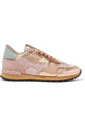 Valentino Garavani Rockrunner Metallic Leather And Suede Trimmed Camouflage Print Canvas Sneakers Pastel Pink