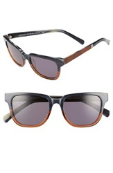 Shwood Women's 'Prescott' 52Mm Acetate And Wood Polarized Sunglasses Skyline Mahogany Silver Skyline Mahogany Silver