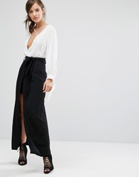 Parallel Lines High Waist Skirt With Tie Waist Detail And Maxi Layer Black