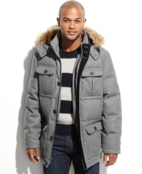 Nautica Coat Faux Fur Trimmed Hooded Wellon Filled Wool Blend Parka Light Grey