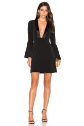 Jill Stuart Plunging V Neck Mini Dress Black
