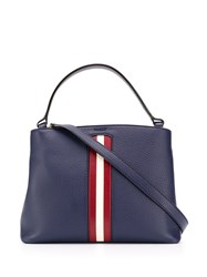 Bally Signature Stripe Tote Bag Blue