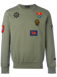 Alexander Mcqueen Badge Applique Sweatshirt Green