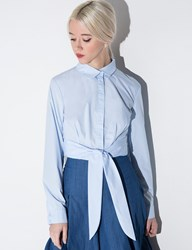 Pixie Market Light Blue Waist Tie Crop Shirt