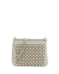 Christian Louboutin Triloubi Small Studded Leather Shoulder Bag Silver