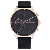 Tommy Hilfiger 'S Chase Chronograph Leather Strap Watch Black 1791488