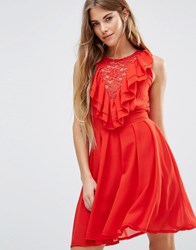 Wal G Lace Insert Skater Dress With Ruffles Red