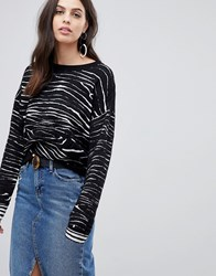 Liquorish Zebra Jaquard Jumper With Contrast Sleeve Black And White