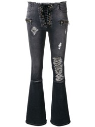 Unravel Project Ripped Flared Jeans Grey