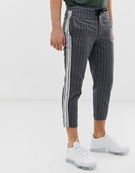 Sik Silk Siksilk Cropped Trousers In Grey Pinstripe With Side Stripe