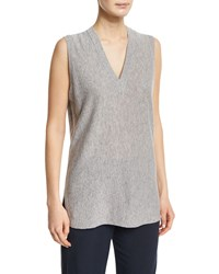 Vince V Neck Sleeveless Cashmere Sweater Women's Heather Steel