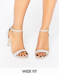 New Look Wide Fit Glitter Barely There Heeled Sandal Silver