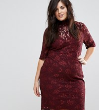 Lovedrobe Allover Floral Lace Pencil Dress With Tie Back Detail Berry Red
