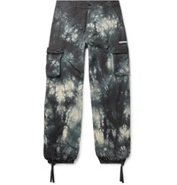 Off White Embellished Tie Dyed Cotton Ripstop Cargo Trousers Gray