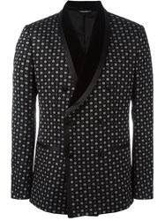 Dolce And Gabbana Floral Print Dinner Jacket Black