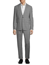 Vince Camuto Plaid Wool Suit Medium Grey