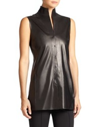 Akris Architecture Collection Nappa Leather Sleeveless Blouse Black