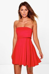 Boohoo Double Layered Bandeau Skater Dress Red