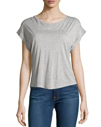 Minnie Rose Rolled Cuff Boat Neck Tee Fonce Gris