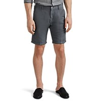 Massimo Alba Washed Linen Cotton Canvas Shorts Gray