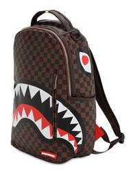 Sprayground Shark In Paris Faux Leather Backpack Brown