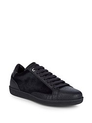 Brioni Classic Leather Low Top Sneakers Navy