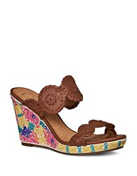 Jack Rogers Livvy Embroidered Wedge Sandals Cognac
