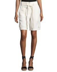 Helmut Lang Belted Relaxed Cargo Shorts Ivory