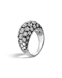 John Hardy Dot Sterling Silver Diamond Pave Dome Ring