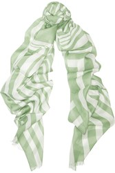 Tomas Maier Paint Stroke Striped Modal And Silk Blend Scarf Green